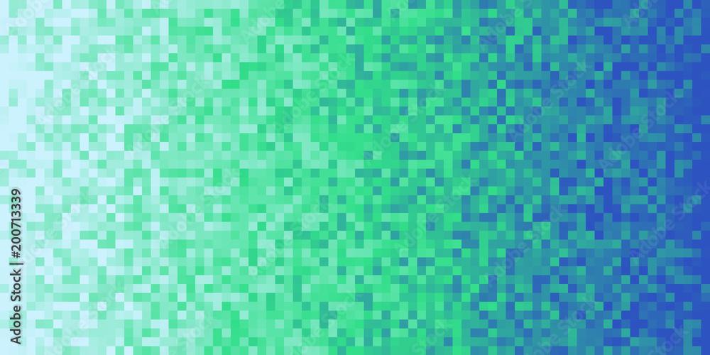 Fototapeta Deep Sea Green Blue Seamless Pixilated Gradient Background. Mosaic Pixel Art Texture. Horizontal Pixel Gradient Backdrop.