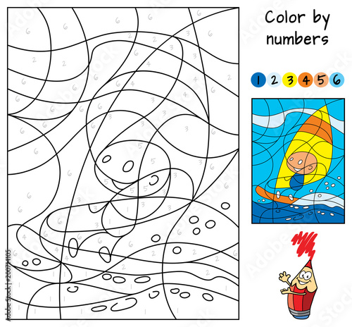 Windsurfing. Color by numbers. Educational puzzle game for ...