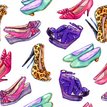 Modern Ladies Shoes: Wedge, Slingbacks, Stilettos, Court Shoes And Kitten Heel, Hand Painted Watercolor Illustration, Seamless Pattern On White Background