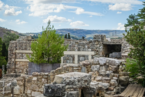 Foto op Aluminium Oude gebouw old, historic cities, fragments of stone walls; ruins on the mountain and blue sky background.
