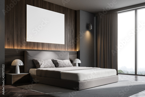 City on the water Dark wooden wall bedroom corner with poster