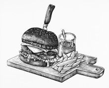 Hand-drawn Burger Isolated On ...