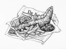 Hand-drawn Fish And Chips