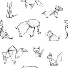 Origami - Seamless Pattern With Gray Graphic Paper Animals