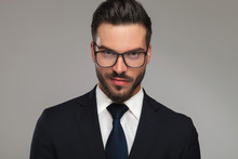 Handsome Businessman With Sunglasses Showing Contempt