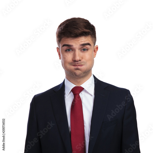 Photo portrait of funny businessman making a goofy face