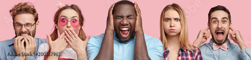 Fotografie, Obraz  Collage shot of stressful dark skinned male, shocked pinup girl, blonde adorable