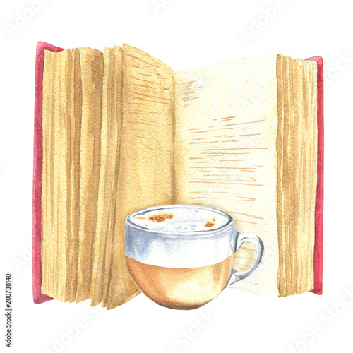 Hand Drawn Watercolor Open Book With Text And Cup Of Coffee