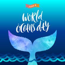 World Oceans Day Vector Illust...