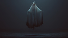 Floating Evil Spirit With Silver Horns In A Foggy Void 3d Illustration