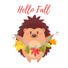 Hedgehog Holding Autumn Colorf...