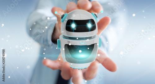 Papiers peints Montagne Businessman using digital chatbot robot application 3D rendering