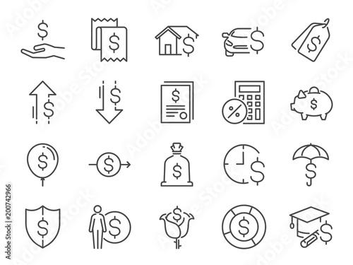Fotografía  Loan and interest icon set
