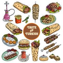 Hand Drawn Turkish Food, Vecto...