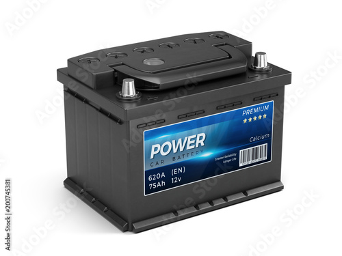 Car battery abstract label isolated on white background Canvas