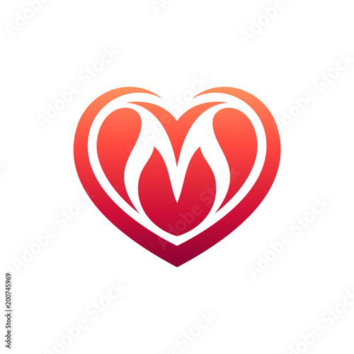 Heart Letter M Initial Logo - Buy this stock vector and