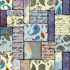 Fototapeta Wzory geometryczne Seamless background. Geometric abstract pattern of rectangles in scrapbook style.