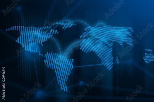 Fotobehang Fractal waves world network internet business