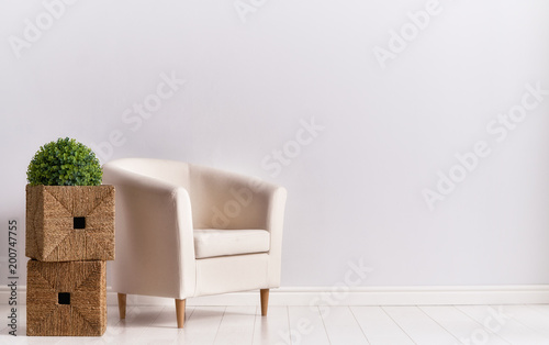 Fotografie, Obraz  armchair on empty wall