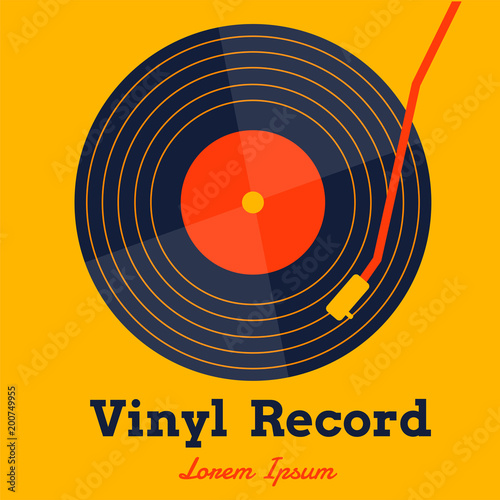 Fotomural vinyl record music vector with yellow background graphic