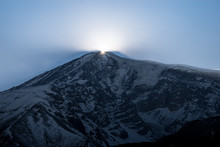 Sunset Over Mt. Ararat Peak (5137 M) As Seen From Ahora Gorge In Winter.