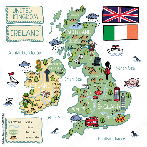 Cartoon map of United Kingdom and Ireland Canvas Print