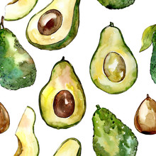 Exotic Avocado Wild Fruit In A Watercolor Style Pattern. Full Name Of The Fruit: Avocado. Aquarelle Wild Fruit For Background, Texture, Wrapper Pattern Or Menu.