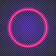 Vector neon circle frame red color on transparent background for shop, cafe, restaurant, banner, promotion, poster party. Bright signboard. 10 eps