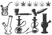 Set Of Cannabis Leafs, Bongs, ...
