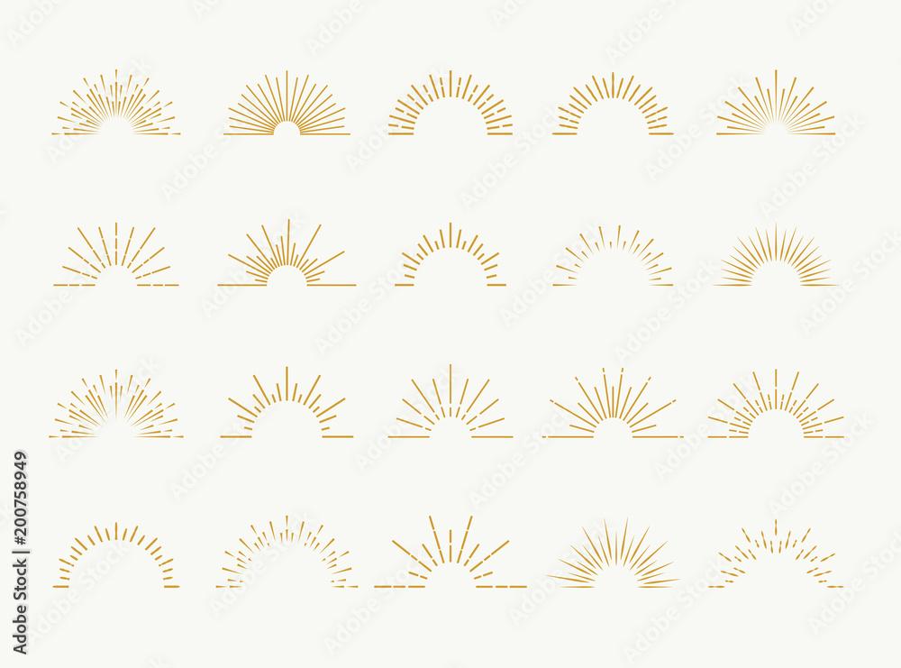 Fototapety, obrazy: Sunburst set gold style isolated on white background for logo, tag, stamp, t shirt, banner, emblem. Vector Illustration 10 eps