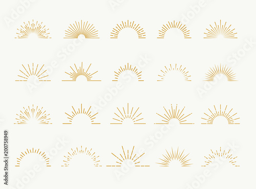 Sunburst set gold style isolated on white background for logo, tag, stamp, t shirt, banner, emblem. Vector Illustration 10 eps