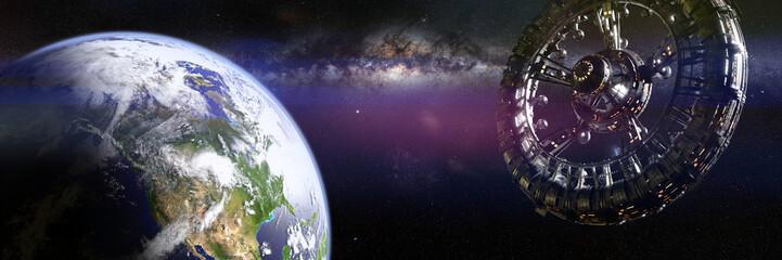 Fototapeta giant space station in orbit of planet Earth (3d science fiction illustration banner)