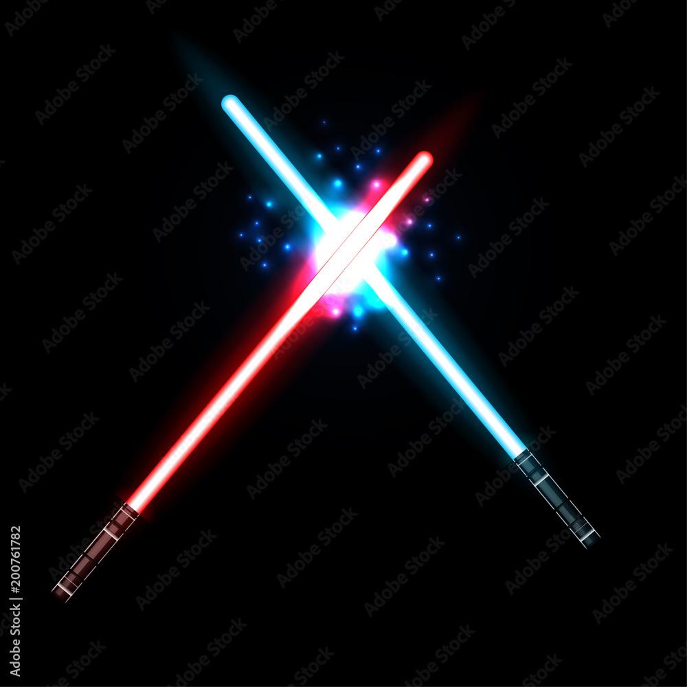 Fotografie, Obraz lightsaber, Two Crossed Light Swords Fight