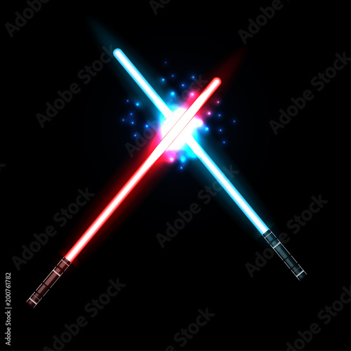 lightsaber, Two Crossed Light Swords Fight Canvas Print