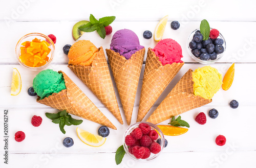 Various homemade fruit ice cream in the cone