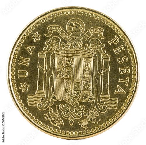 Fotografering  Old Spanish coin of 1 pesetas, Juan Carlos I