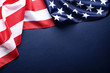 Leinwandbild Motiv American flag on blue background