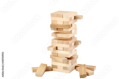 Photo Wooden block tower game isolated on white background