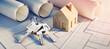 Leinwanddruck Bild - Konzept eigenes Heim - Planung