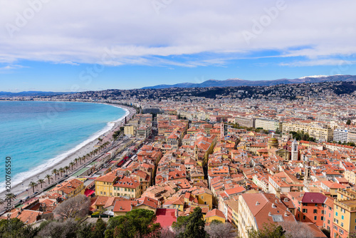 Deurstickers Nice Cote d'Azur, France. Beautiful panoramic aerial view city of Nice, France. Luxury resort of French riviera. Front view of the Mediterranean sea, bay of Angels