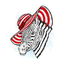 A Beautiful Zebra In A Beach Hat. An Animal In Summer Clothes. Hipster. Vector Illustration.