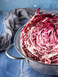 canvas print picture - Radicchio red chicory closeup on blue background