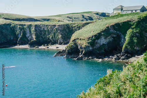Foto op Canvas Olijf Wardens house on Skomer Island Pembrokeshire West Wales UK