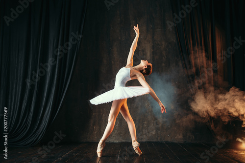 Fényképezés Ballerina in white dress dancing in ballet class