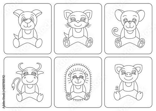 Kids coloring book. Animals: rat; dog; pig; cat; mouse; ox; cow ...