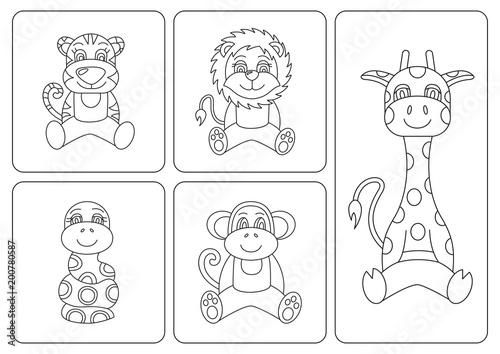 Kids coloring book. Animals: tiger; snake; monkey; giraffe, leo ...