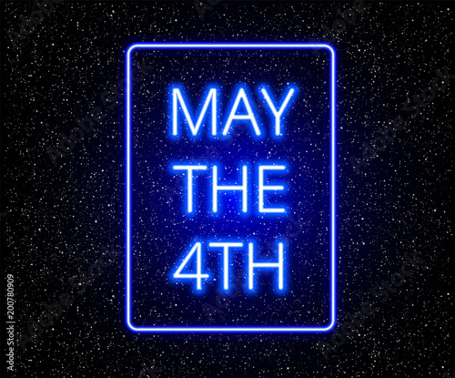 Photo  May the 4th abstract background with glowing blue text on stars background - vec