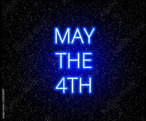 May the 4th abstract background with glowing blue text on stars background - vec Wallpaper Mural