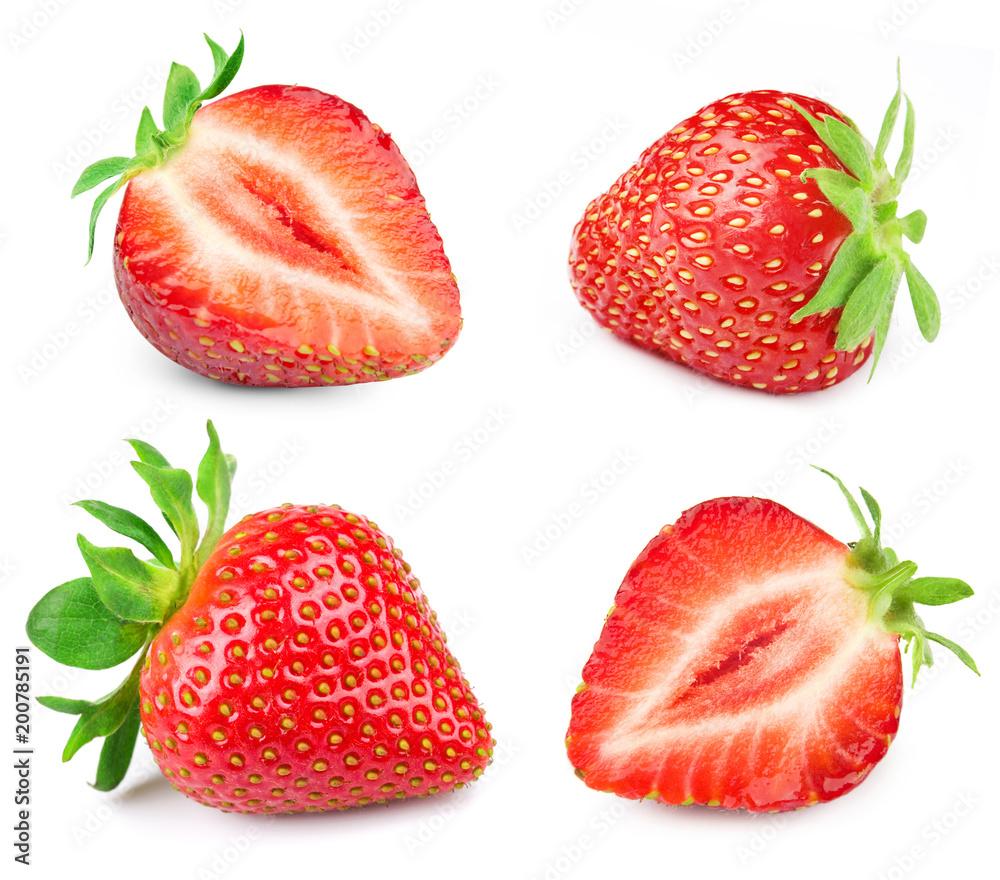 Fototapety, obrazy: Strawberry half isolated