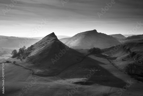 Fotobehang Grijs Beautiful landscape image of Parkhouse Hill and Chrome Hill in Peak District at sunset